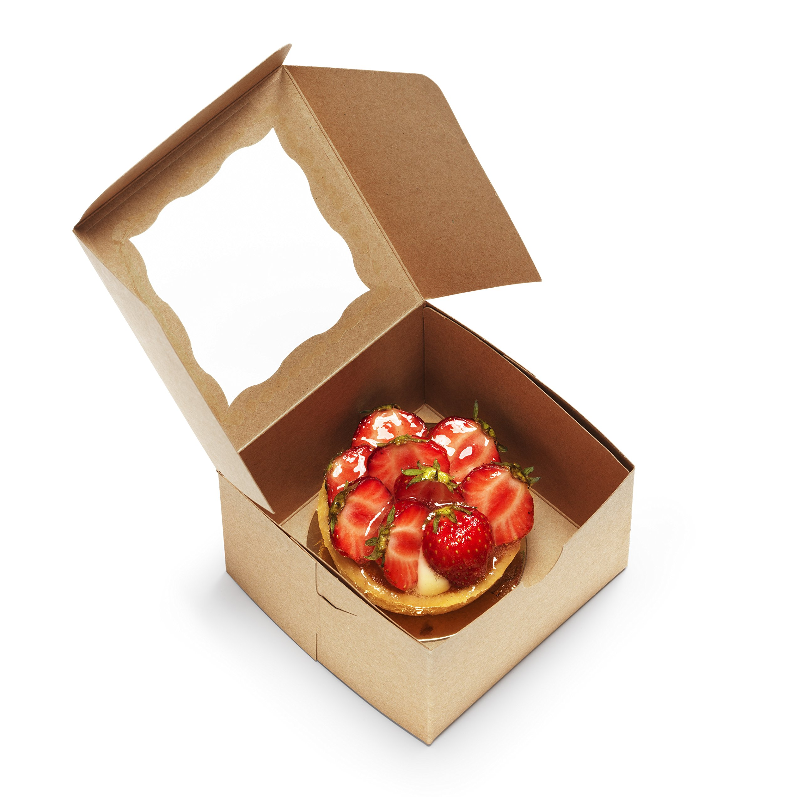 [50Pack] Bakery Boxes with Window 4x4x2.5'' Kraft Pastry Containers for Cupcakes, Wedding Cake/Baby Shower/Treat Party Favors, Dessert, Candy, Cookies