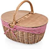 Picnic Time Country Picnic Basket with Liner, Red/White Gingham