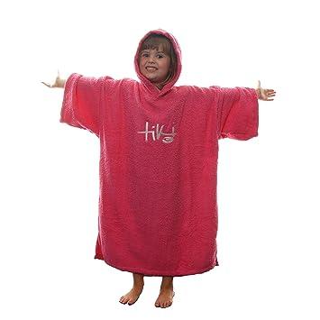 8664e2895f Tiki Kids Junior Hooded Towelling Changing Change Robe Beach Swim Poncho  Pink