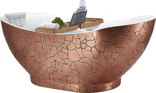 AKDY Freestanding Bathtub 67 Inch Rose Gold Acrylic Tub for Bathroom Flat Bottom Stand Alone Bathtub Modern and Elegant Style Comfortable Curved Design Luxurious SPA Soaking