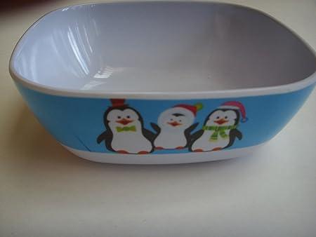 Amazon Com Ice Blue Penguin Melamine Childrens 6 Plastic Bowl Dinnerware Everything Else