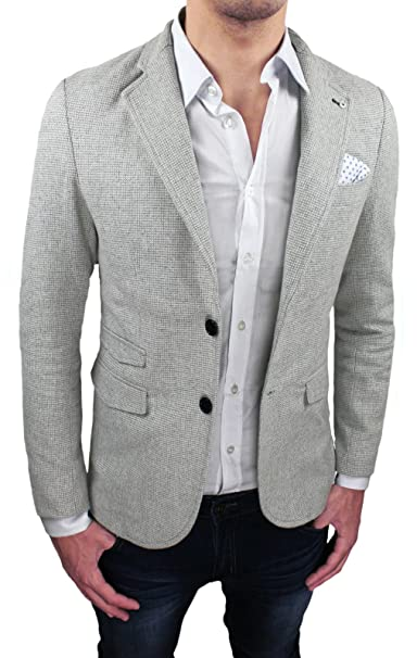 aderente Uomo sartoriale Blazer casual Slim Giacca grigio Fit xFqOBYnwC