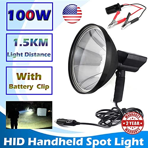 Powerful 100W HID Xenon Hunting Flash Lights 9 Inch 240mm Outdoor Indoor 12V Handheld Portable Spotlight Camping Hunting