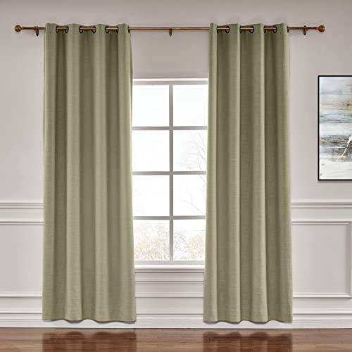 Prim Flax Linen Blackout Curtains Room Darkening Draper Thermal Insulated Grommet Extra Wide Curtain
