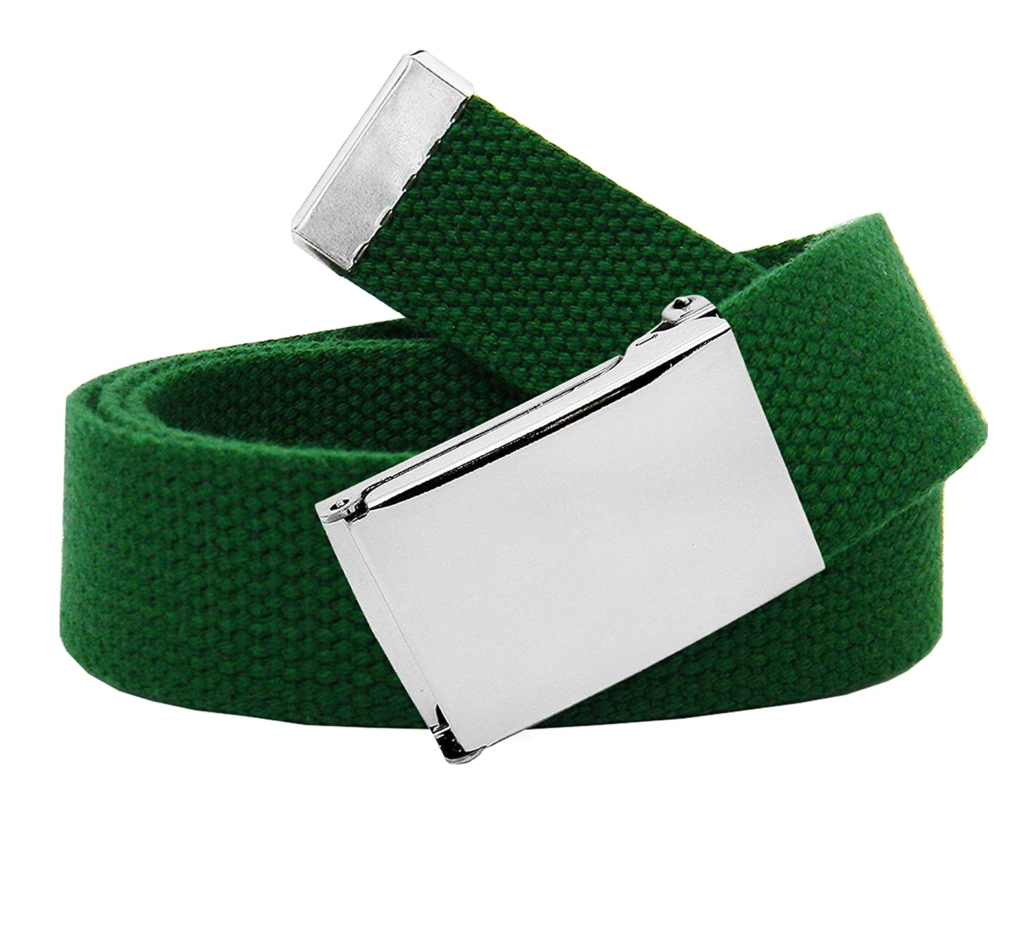 Boy's School Uniform Silver Flip Top Military Belt Buckle with Canvas Web Belt 6560B-SILVER-$P