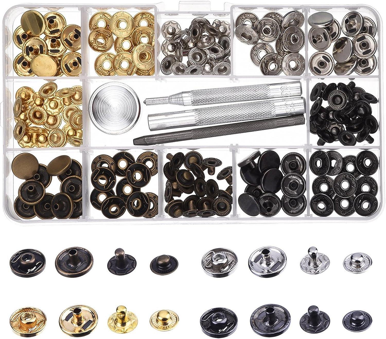 120pcs Botones de Metal,Metal Snap Botones de presión,Cap Remaches Tubular de Remache,4pcs instalan herramienta, botones de metal con caja de almacenamiento, para cuero DIY, mochila, sombrero