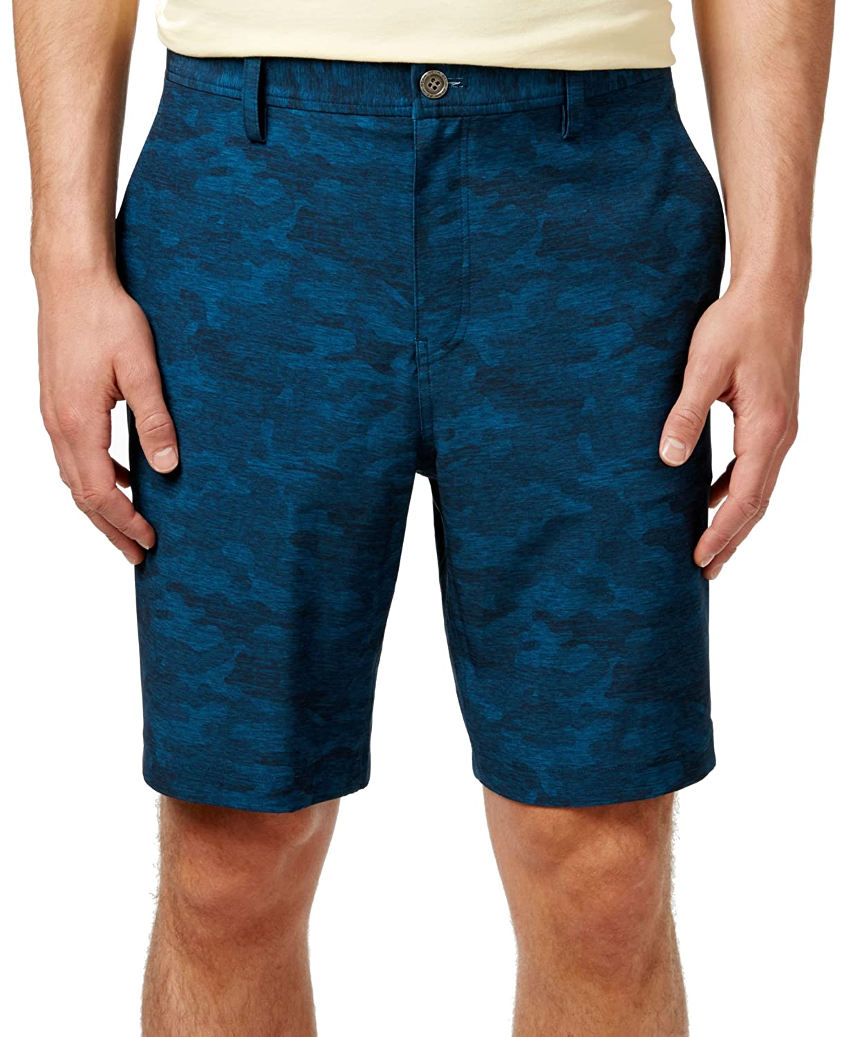 32 Degree Cool Men's Performance Stretch 9 inch Printed Shorts, Teal Camo