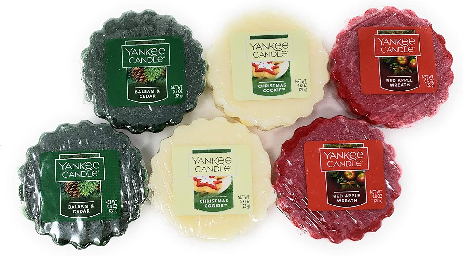 Yankee Candle Holiday Scented Tarts Wax Melts - Balsam & Cedar, Christmas Cookie, Red Apple Wreath - Bundle Set of 6