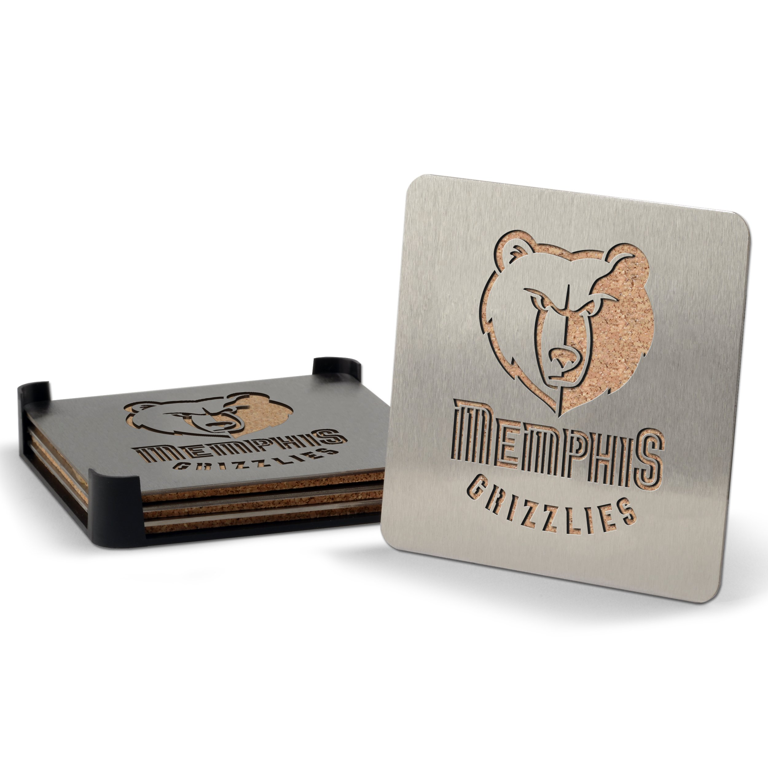 NBA Memphis Grizzlies Boasters, Heavy Duty Stainless Steel Coasters, Set of 4