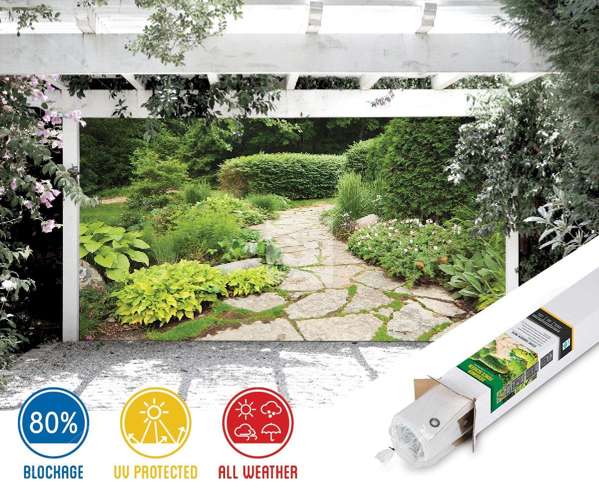 FenceScreen Garden with Stone Path Decorative Gazebo, Patio & Garage Door Backdrop Screen 9' x 7'