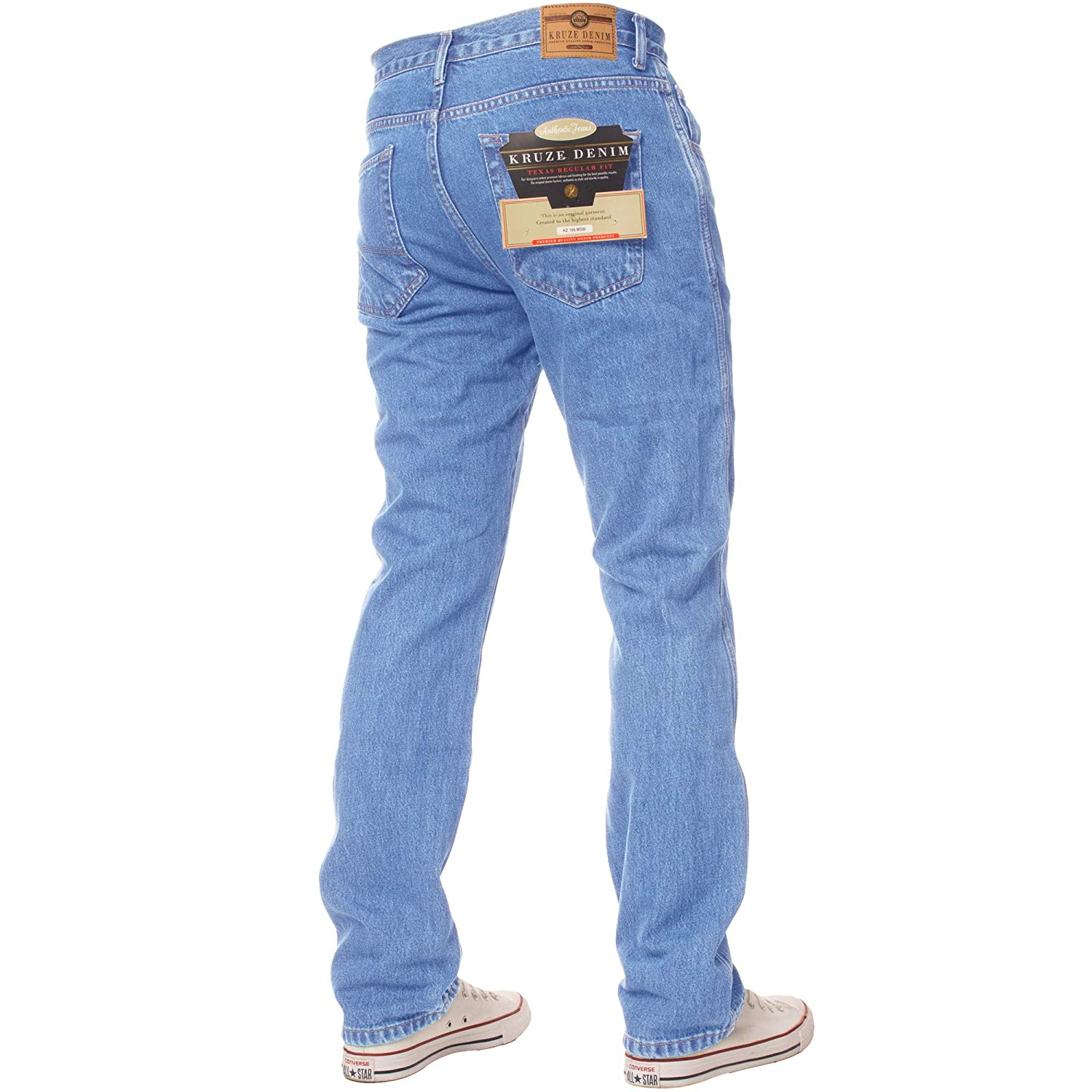 New Kruze Denim Mens Work Jeans Basic Heavy duty Straight Leg Regular Fit Pants
