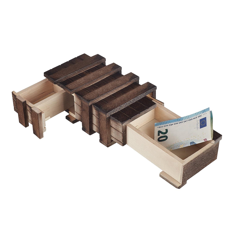 Incantevoli legno scatola regalo –  con 2 scomparti da infilare per regalare gutscheinen, gioielli e denaro, mit 2 beweglichen Teilen MS-Versand