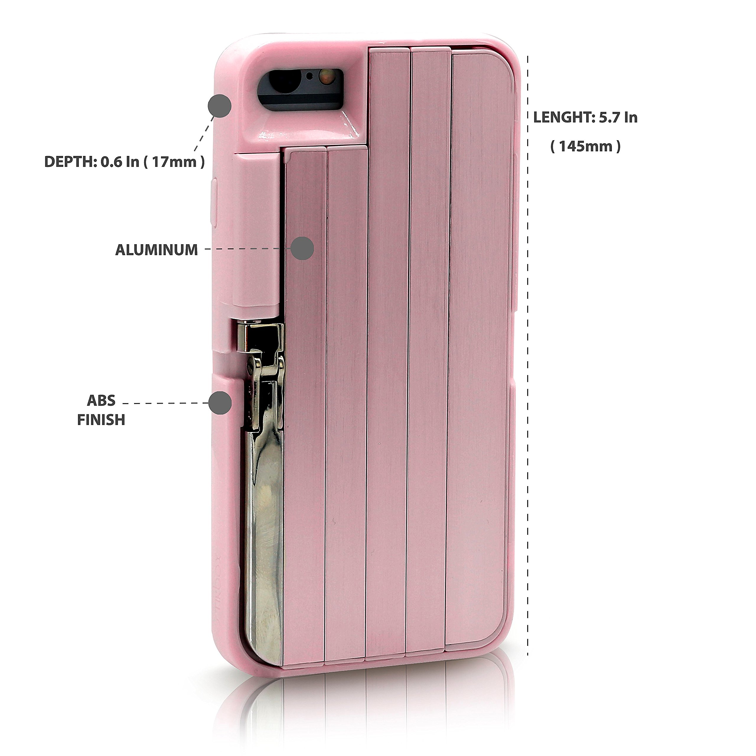 "StikBox Selfie Stick iPhone Case, Extendable Monopod W/ Bluetooth Trigger, Lightweight, Rechargeable, Wireless, Pocket Size, 360 degree & 20"" Extension for iPhone 8S/8/7/6S/6 (Pink)"