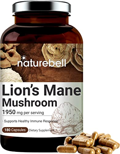 Lions Mane Supplements Made with Lions Mane Mushroom , 1950mg Per Serving, 180 Capsules, Strongly Supports Healthy Immune System, Premium Lions Mane Brain Support Supplement, Non-GMO