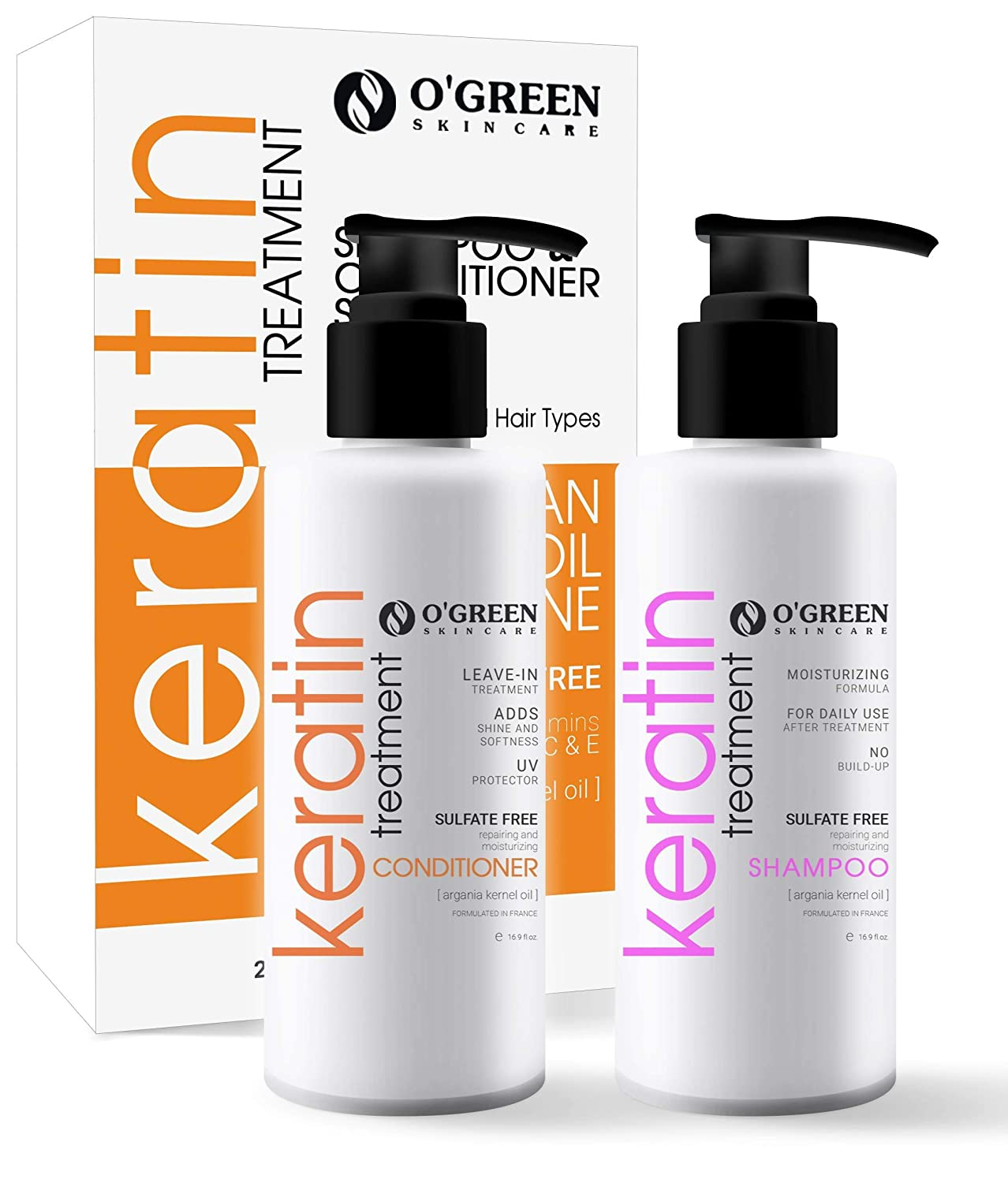 Keratin Shampoo and Conditioner Set -Argan Oil for Dry Thinning Hair, Sulfate Parabens Free - Anti Frizz - Clarifying And Protective Keratin Complex