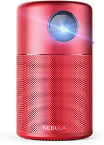 """Nebula Capsule Smart Mini Projector, by Anker, Portable 100 ANSI lm High-Contrast Pocket Cinema with Wi-Fi, DLP, 360° Speaker, 100"""" picture, Android 7.1, 4-Hour Video Playtime, and App-Red"""