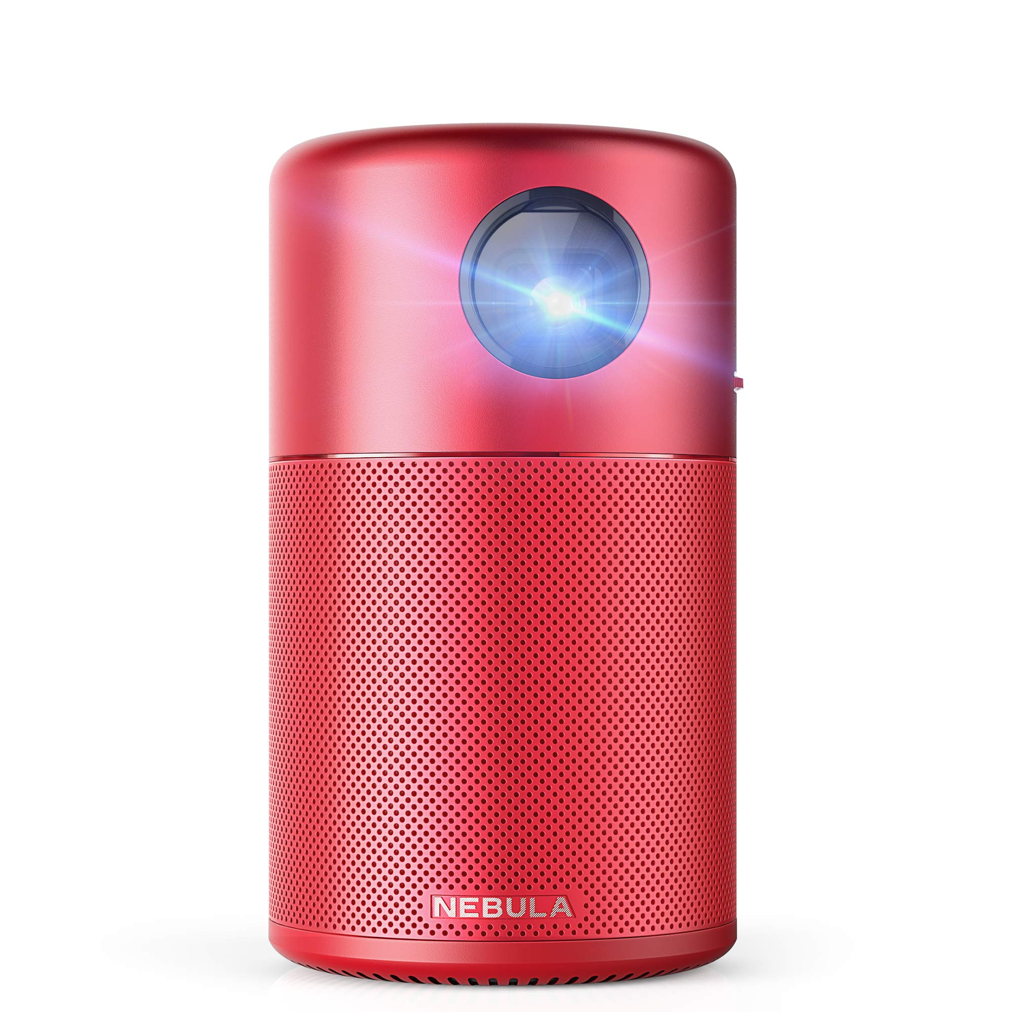 Nebula Capsule Smart Mini Projector, by Anker, Portable 100 ANSI lm High-Contrast Pocket Cinema with Wi-Fi, DLP, 360° Speaker, 100'' Picture, Android 7.1, 4-Hour Video Playtime, and App-Red by Anker (Image #1)