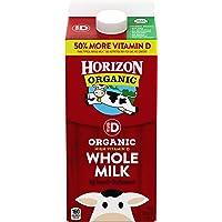 Horizon Organic, Whole Milk, Ultra Pasteurized, Half Gallon 64 oz, Organic Whole Milk, 50% More Vitamin D than Typical Whole Milk