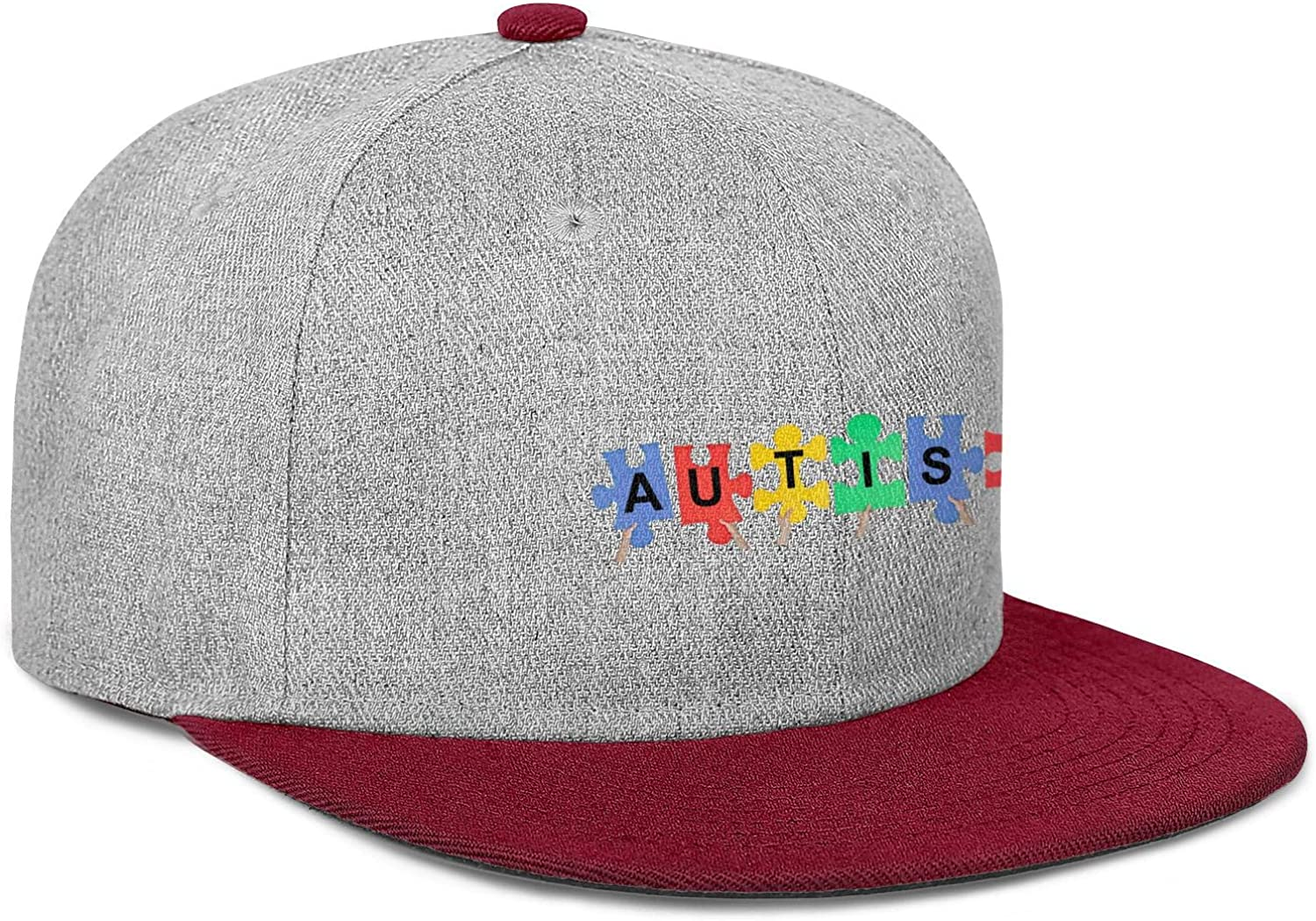 Autism Logo Color Hand Mens Women Wool Baseball Cap Adjustable Snapback Sun Hat