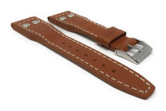 2b98728bc 20mm Tan Genuine Leather Watch Band Strap with Rivets for IWC Big Pilot |  Amazon.com