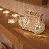 Heart Fairy String Lights - White Metal - 10 Warm White LEDs - Battery Operated - Timer by Festive Lights