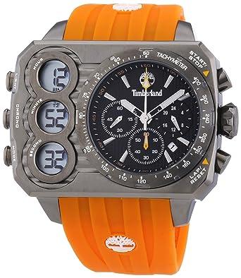 Timberland TBL.13673JSU/02S - Reloj analógico - Digital de Cuarzo para Hombre, Correa de Silicona Color Naranja: Amazon.es: Relojes