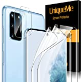 [ 4 Pack ] UniqueMe TPU Soft Screen Protector and Camera Lens Protector Tempered Glass for Samsung Galaxy S20 Plus (6.7…