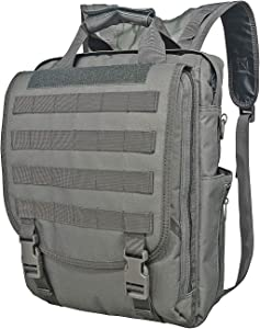 WolfWarriorX Lightweight Business Durable Computer Notebook Backpack MOLLE System Multi-function Military Tactical Water Resistant Laptop Bag for Men, Women (Grey)
