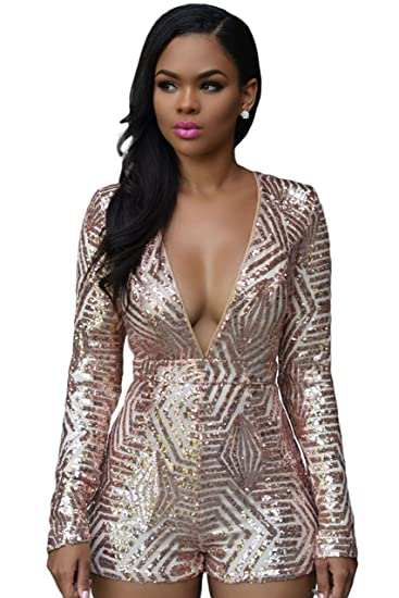 5fd63bfd5747 Women Sexy Long Sleeve Backless Deep V Neck Sequin Bodycon Shorts Jumpsuit  Romper