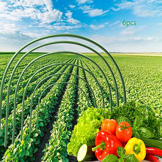 4ft Grow Tunnel Hoops Flexible Long Steel with Plastic Coated Grow Tunnel Garden Hoop for Garden Fabric Okngr 6 Pcs Greenhouse Hoops Plant Support Garden Stakes