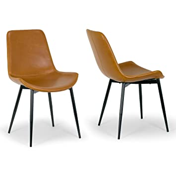 Groovy Amazon Com Set Of 2 Alary Caramel Brown Faux Leather Squirreltailoven Fun Painted Chair Ideas Images Squirreltailovenorg