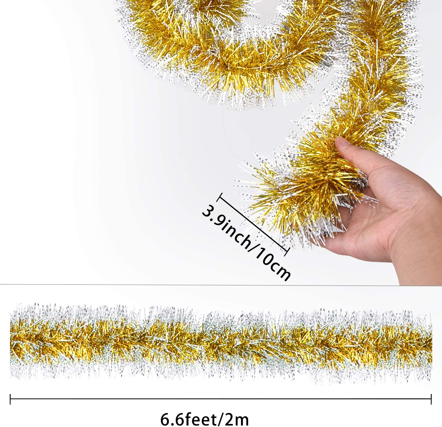 Gold, Red, Green Livder 6 Pieces Christmas Shiny Tinsel Garland for Christmas Tree Party Hanging Decorations 39 Feet