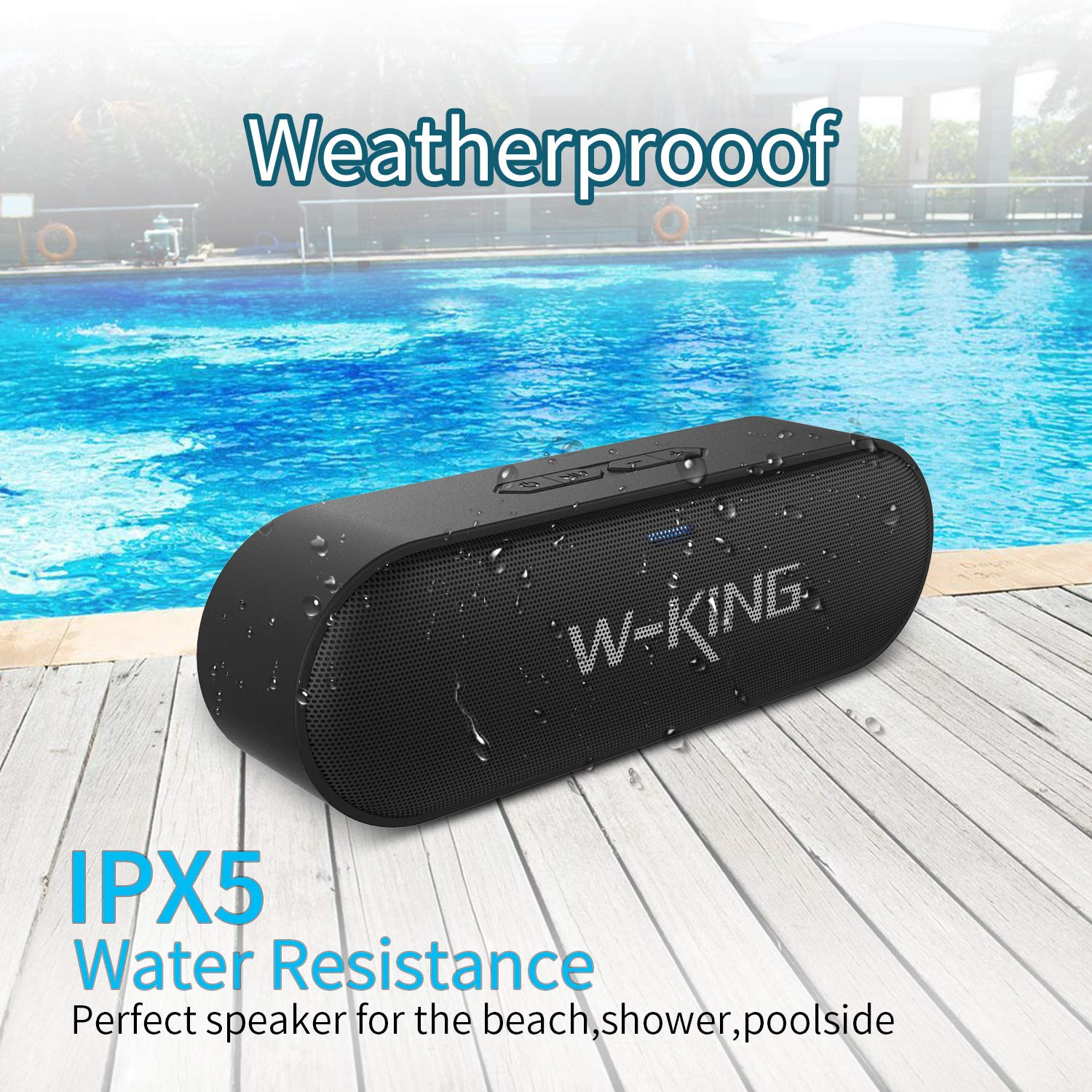 W-KING Bluetooth Speakers, 6W Portable Wireless Bluetooth Speaker with Rich Bass Loud Dual Stereo Sound IPX5 Waterproof Outdoor Speaker, Built-in Mic Perfect for Beach, Party, Dance (Black)
