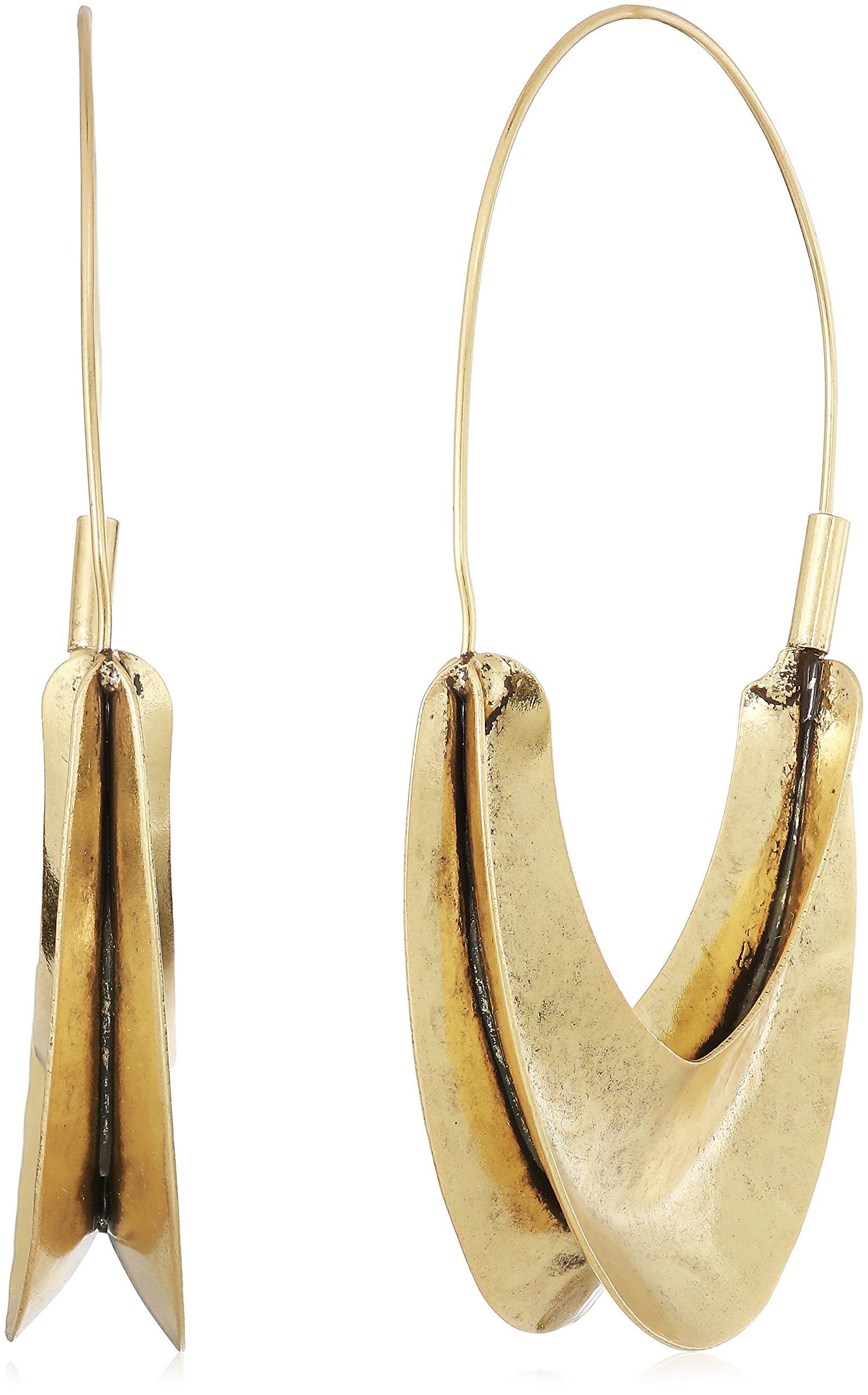 Lucky Brand Womens Gold Organic Hoop Earrings, One Size