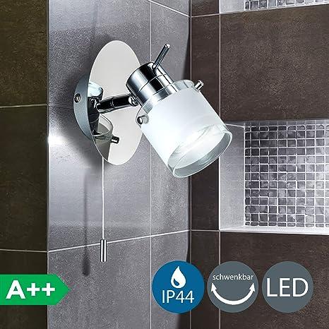 Applique Licht CordeletteSpot Blanc BainIp44Interrupteur OrientableLuminaire Salle Murale Spécial Led De À Bk ChaudGu10 gyvIYb6mf7