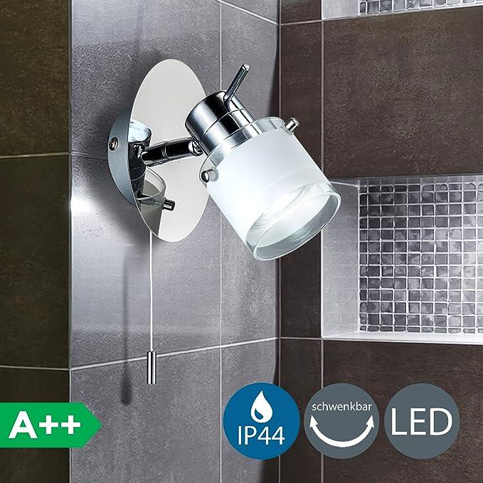 5W LED Lámpara de pared para baño con interruptor de cordón, IP44, Foco LED con bombilla GU10, Color de la luz blanco cálido 3000K, Cromado con vidrio ...
