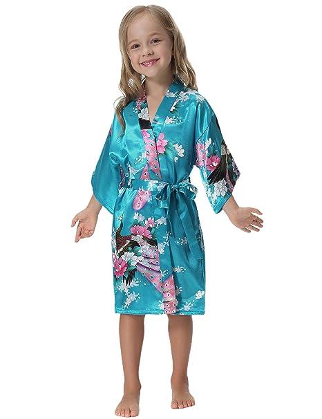 Aibrou Bata Niñas Sexy y Elegante Corto Lenceria Kimono de Satén con Estampado Floral,Suave