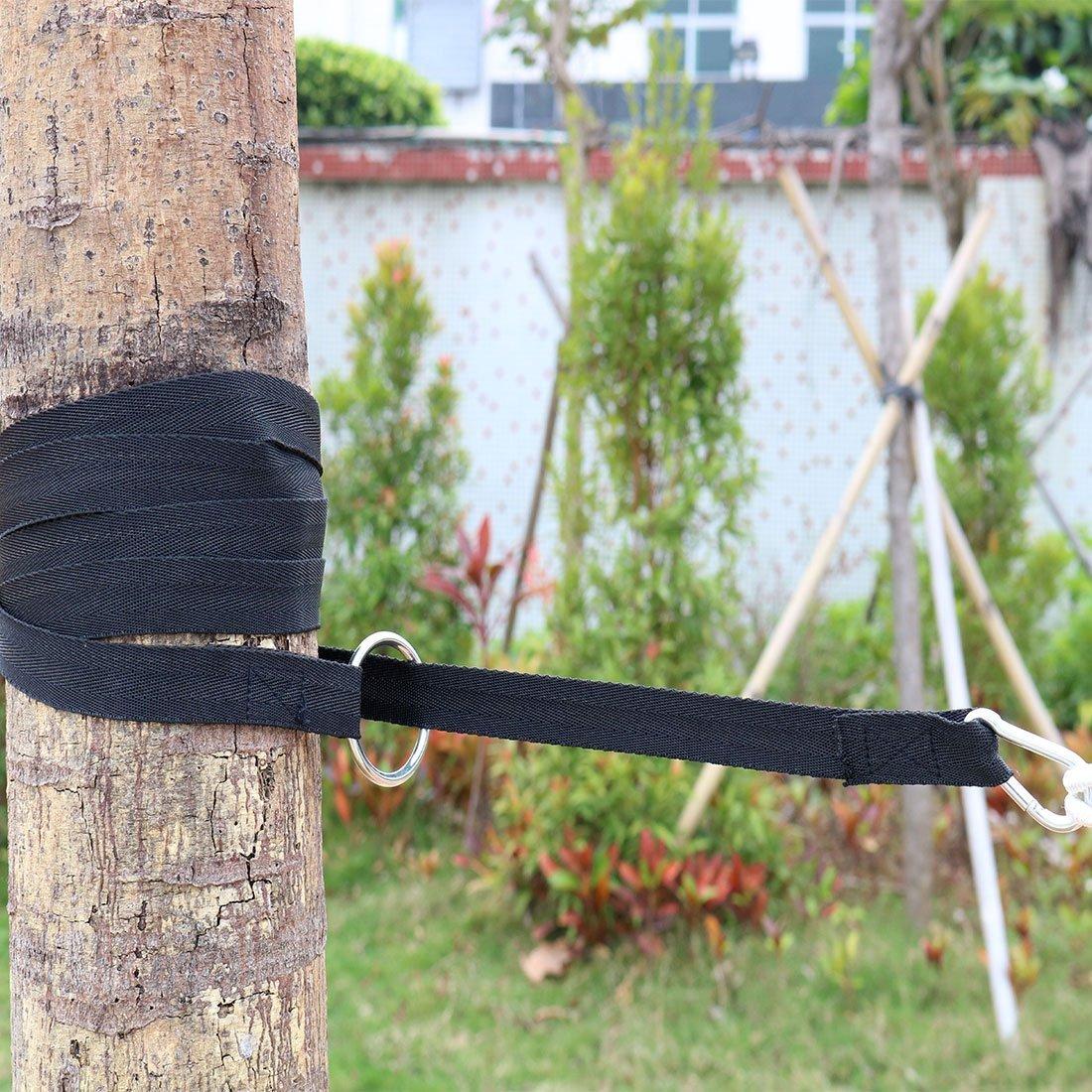 Amazon.com: eDealMax Hamaca, Conjunto DE 2 piezas, árbol del ahorcado correas Con gancho S, mosquetones, al aire Libre 250 cm x 2,5 cm, 2 PC Negro, ...
