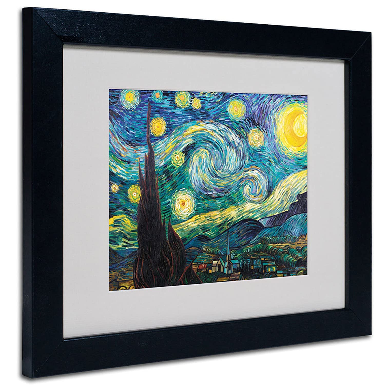 16 by 20-Inch Black Trademark GLB M212-B1620MF Vincent Van Gogh Starry Night Framed Matted Canvas Art