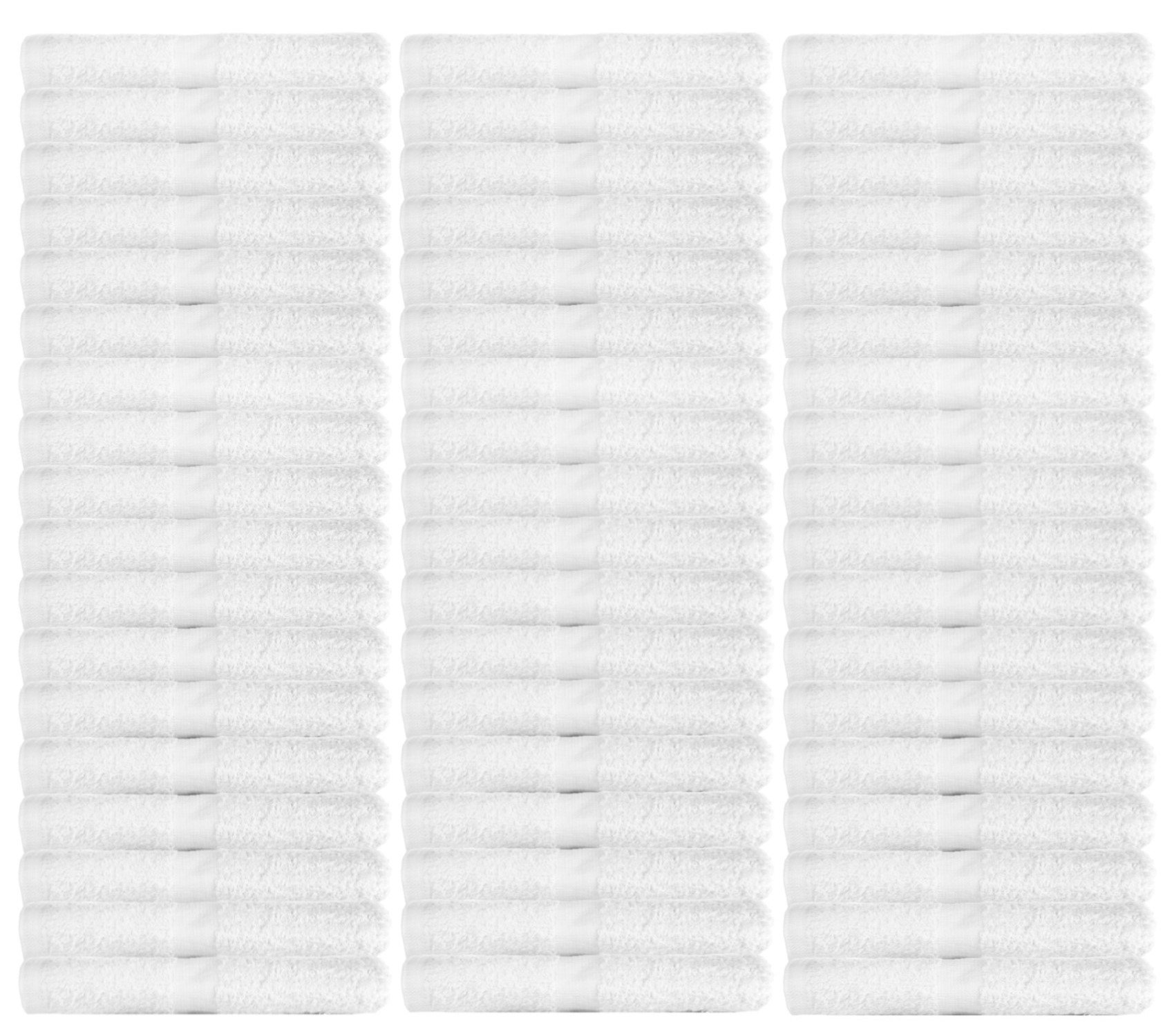 WhiteBasics Cotton Washcloths for Bathroom-KitchenCleaning-Hotel-Gym - Super Soft Absorbent Towels - 48 Pack - White - 12x12 Inch