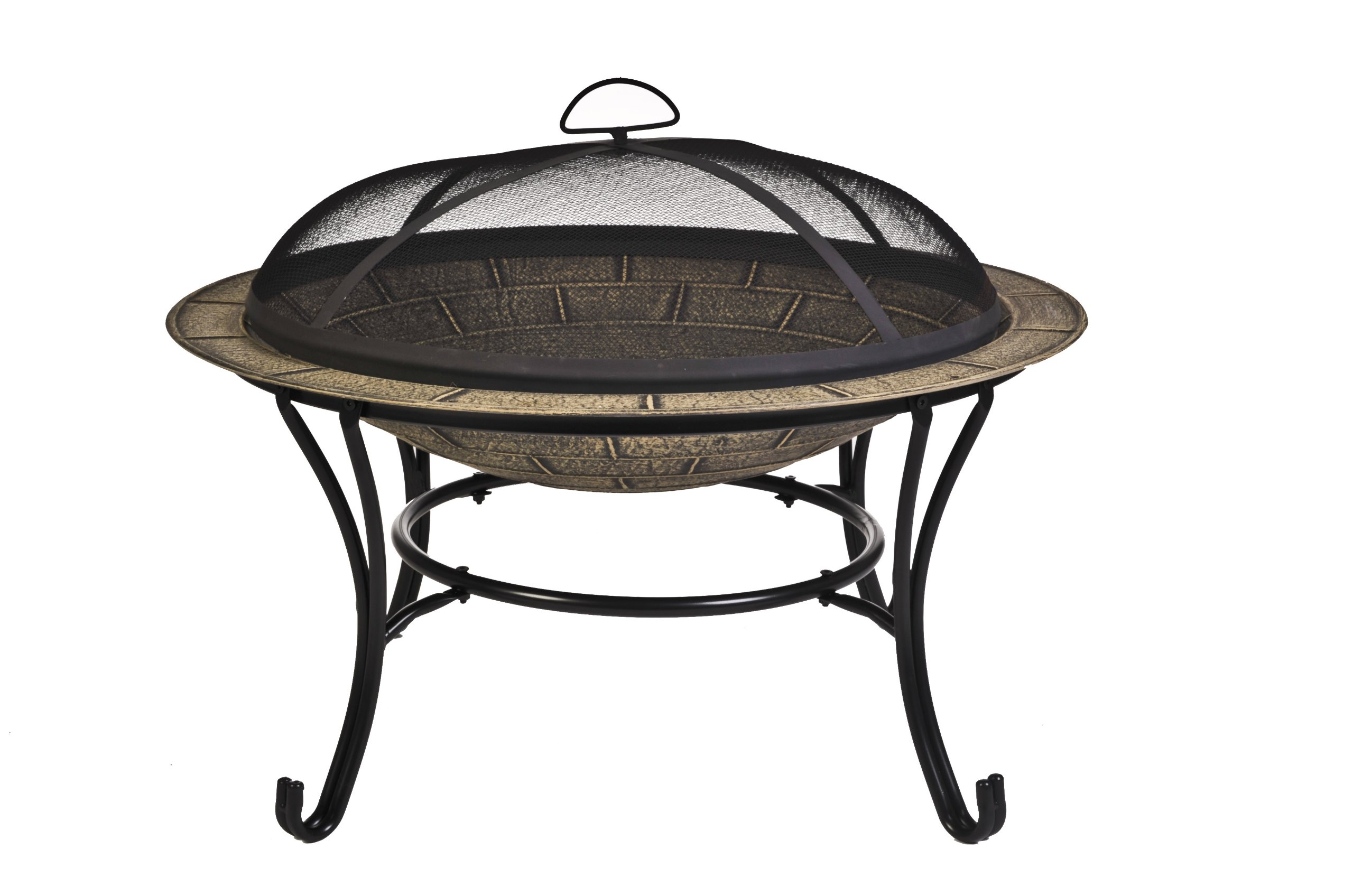 CobraCo FB6102 Round Cast Iron Brick Finish Fire Pit with Screen and Cover by CobraCo