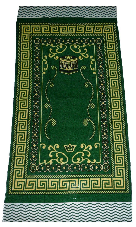 Islamic Portable Prayer Mat Muslim Janamaz Sajadah Namaz Sajjadah Thin - Green