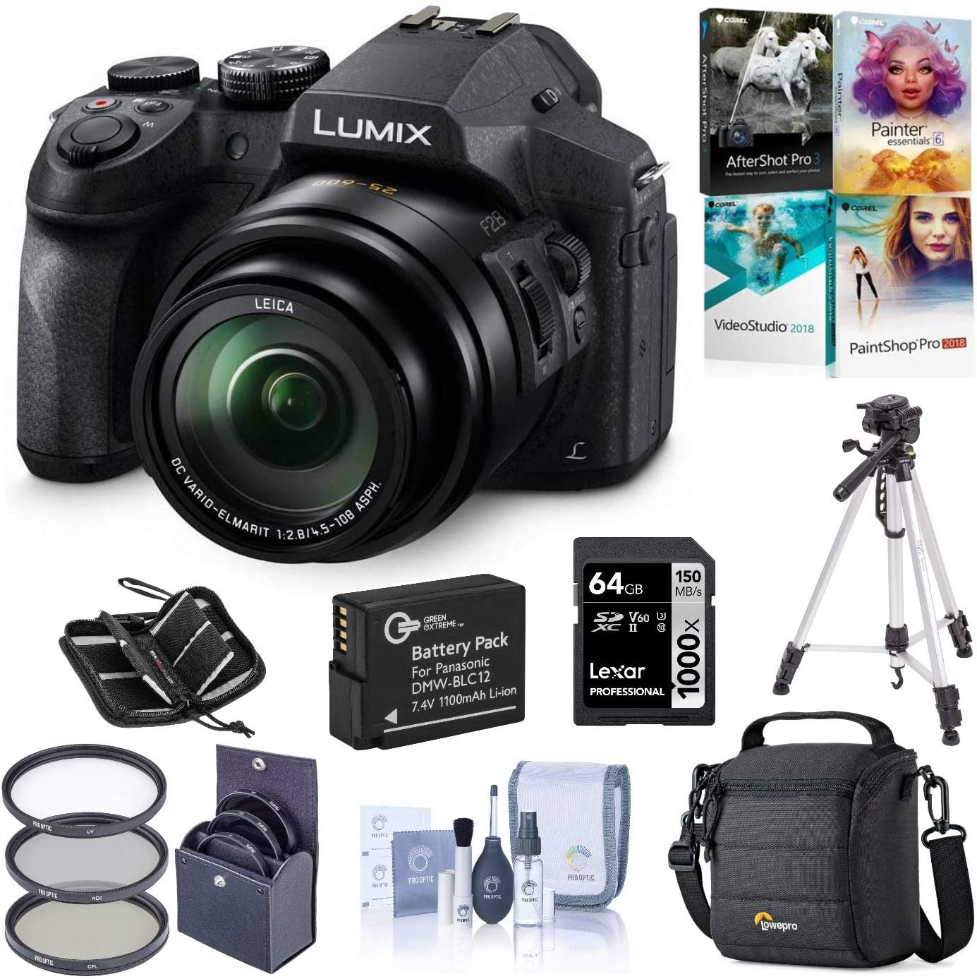 Panasonic Lumix DMC-FZ300 Digital Camera, 12.1 Megapixel, 1/2.3-inch Sensor, 4K Video, 24X Zoom Lens F2.8 Bundle with Bag, Filter, Battery, 64GB SD Card + Case, Tripod, PC Software, Cleaning Kit