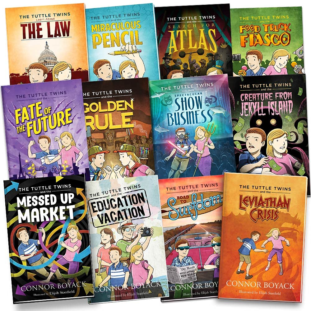 The Tuttle Twins Set of 12 by Connor Boyack & Bonus Activity Book, The Law, Miraculous Pencil, Food Truck Fiasco, Road to Surfdom, Golden Rule, Fate of the Future, Education Vacation, Leviathan Crisis