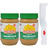 SunButter Creamy Organic Sunflower Seed Butter, 16 Ounce Plastic Jar (Pack 2) - with Exclusive By The Cup Sandwich…