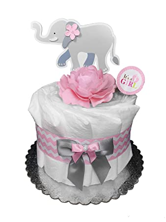 Amazon Elephant Diaper Cake For A Girl Baby Shower Gift
