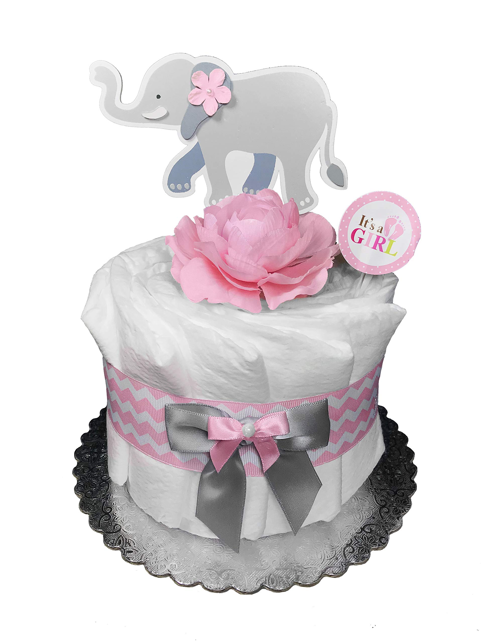 Elephant Diaper Cake - Baby Shower Mini Centerpiece - Newborn Gift