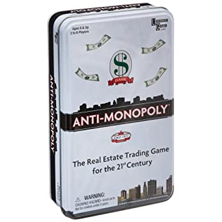 Anti-Monopoly Game Tin  Travel by University Games |The Real Estate Trading Game for the 21st Century | Fun, Challenging Game in Travel Tin | For Ages 8 Years and Up