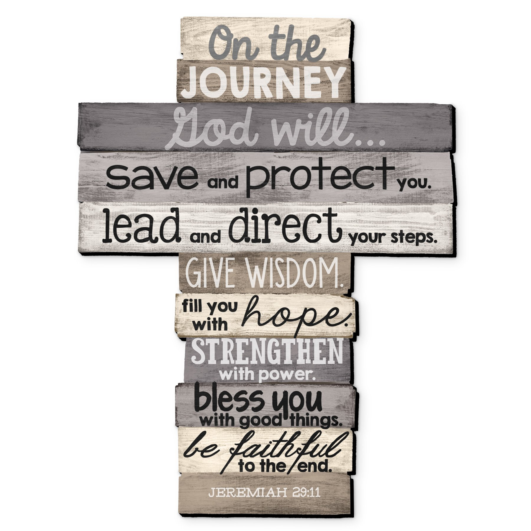 Lighthouse Christian Products Large Journey Stacked Wood Wall Cross