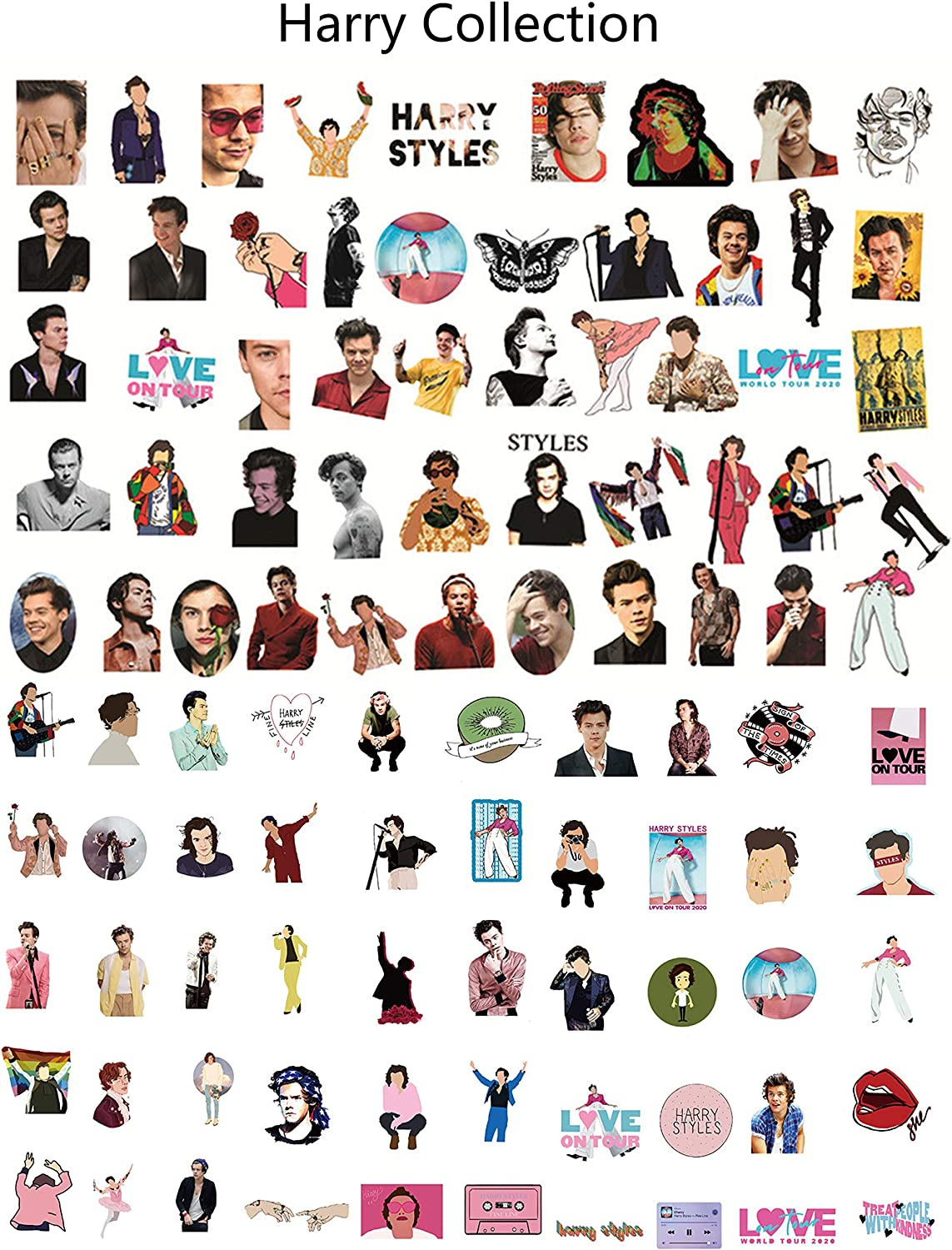 Kilmila Stickers for Singer Harry Style 100PCS Music Film Vinyl Skateboard Guitar Travel Case Sticker Door Laptop Luggage Car Bike Bicycle Stickers (with Rose Pendant Necklace)